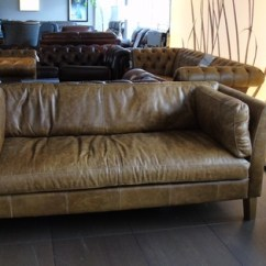 Vintage Leather Sofa Company Table 12 Inches Deep Milton 3 Seater Tan 999 Superstore