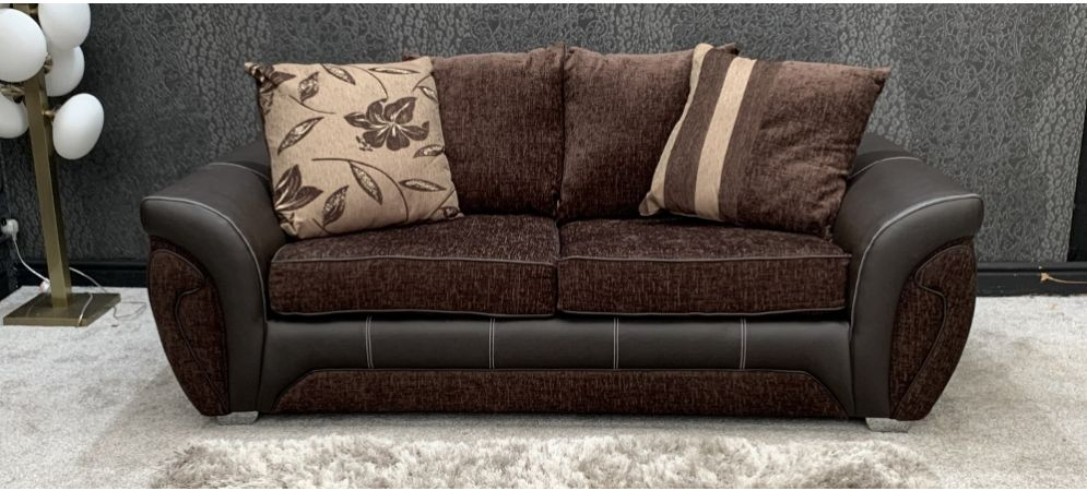 shannon fabric sofa 3 seater chocolate brown scatter back with chrome legs 46753