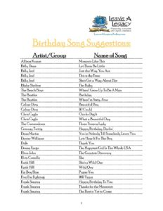 Birthday Song Suggestions