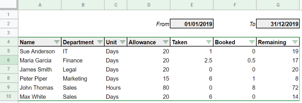 Free Leave Tracker For Google Sheets Easy To Use
