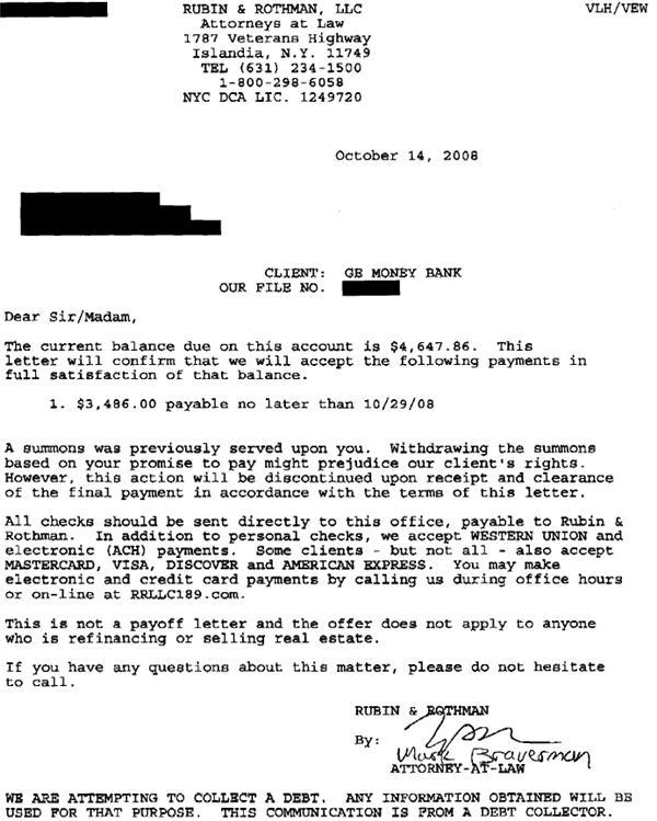 GE Money Bank Sample Debt Settlement Offer Letter Leave