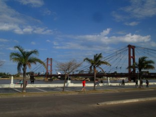 River front with Puente Colgante in the back