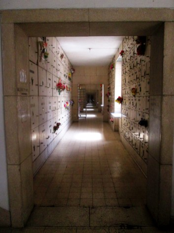 A hallway filled with graves