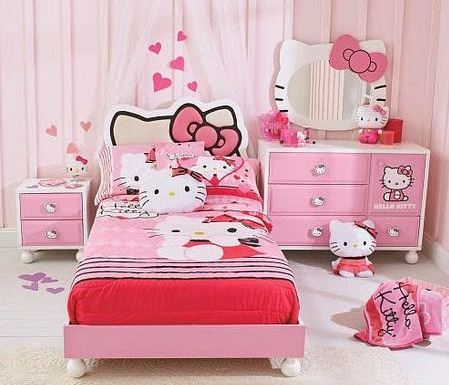 Desain Kamar Tidur Anak Perempuan terbaru 2014 Hello Kitty
