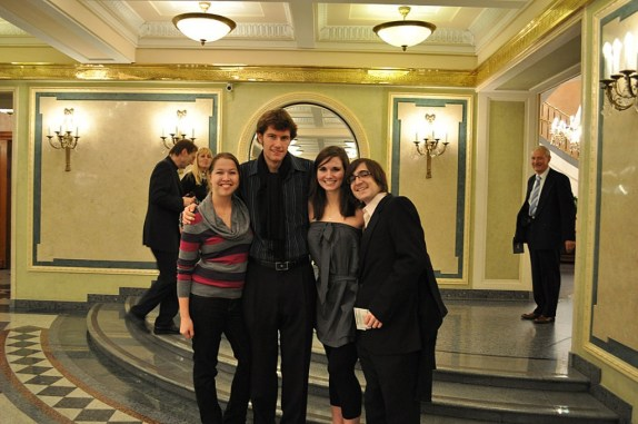 Tanya, me, Natalie, and Lenny (left to right), inside the lobby about to see Swan Lake.