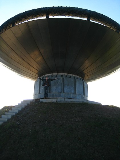 Me standing at the base of a big bowl. There was an impressive view from up there.
