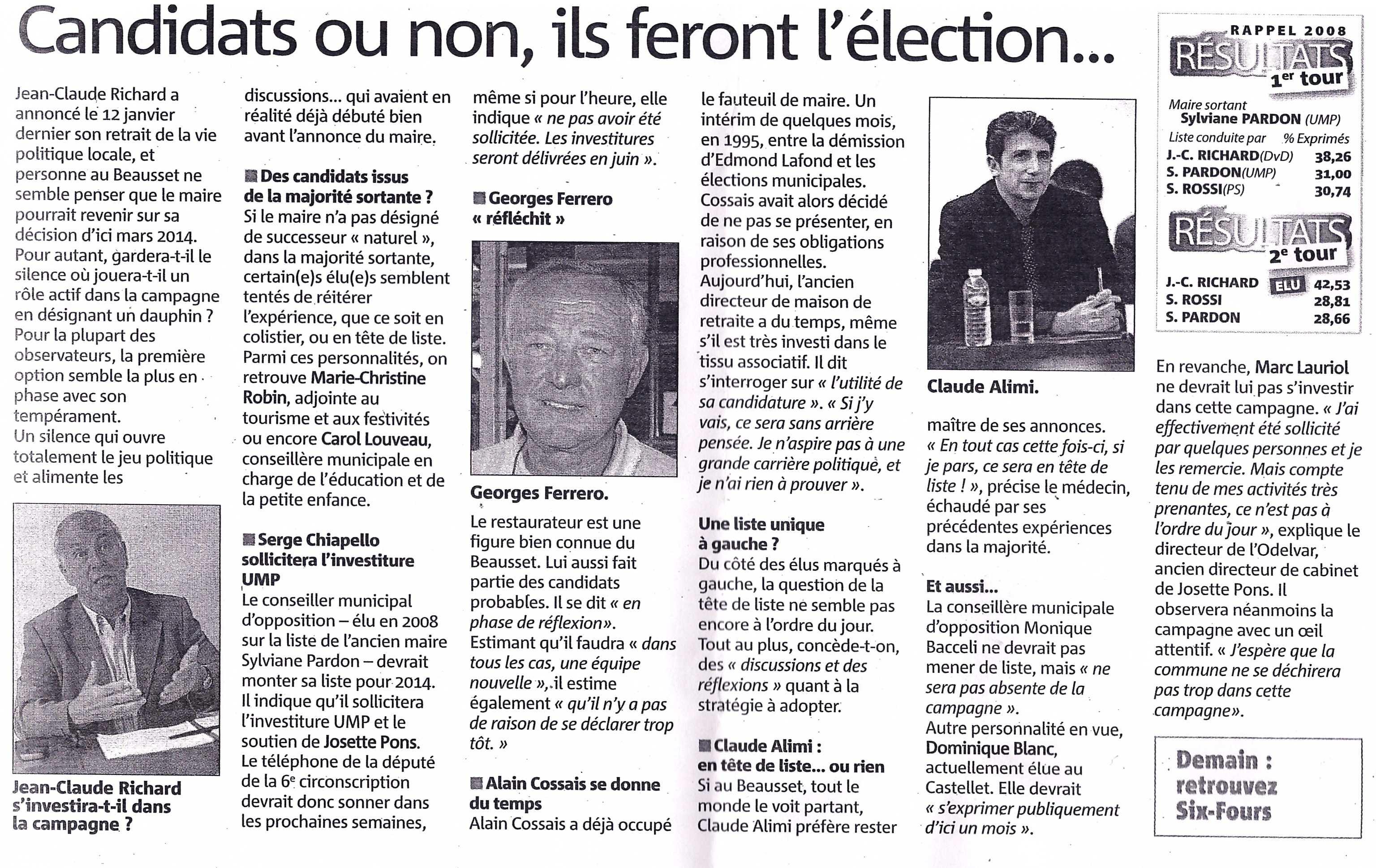 Les éventuels personnages clés de l'élection municipale de 2014 au Beausset