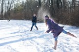 couple playing snow