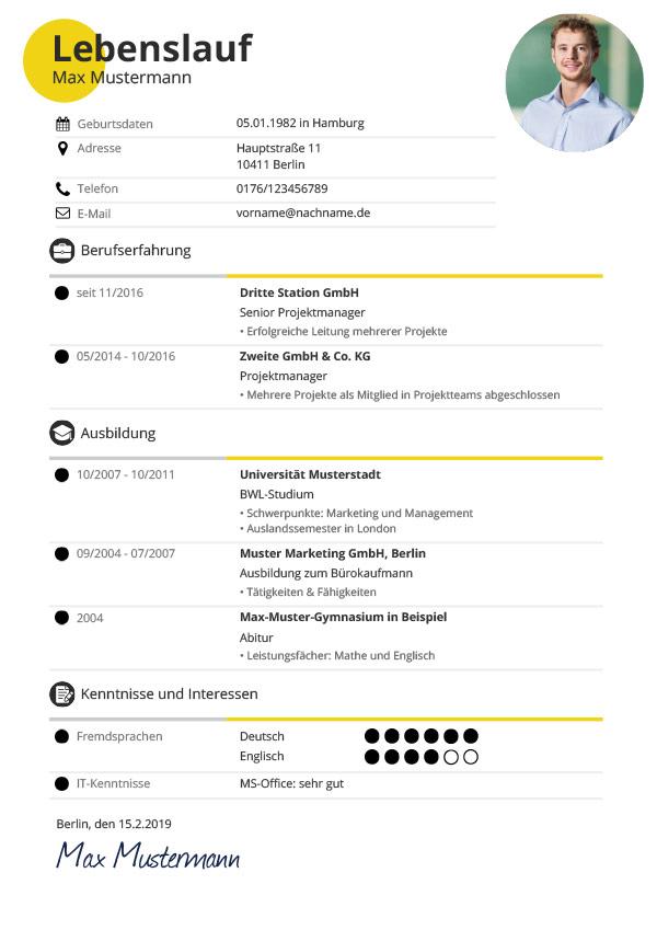 Lebenslauf erstellen (leer) leeres design erstellen. Lebenslauf Vorlagen Muster Kostenloser Download Als Pdf