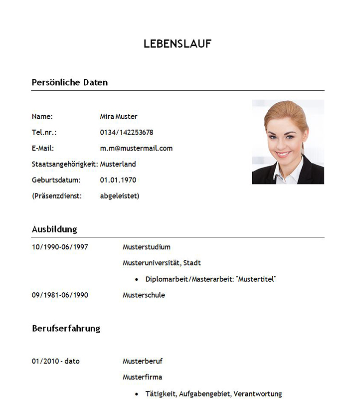 Lebenslauf Muster Word Download Reference Letter Au Pair Example