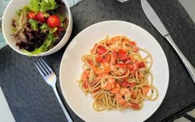 Gemüsepfanne mit Vollkornspaghetti – (Rezept)