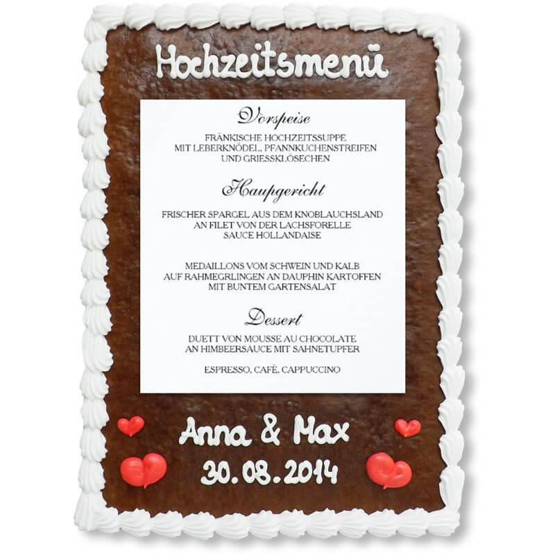 Menkarte Hochzeit klassisch  LebkuchenMarktde