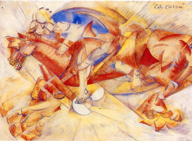 Carlo Carra, The Red Horseman, 1913