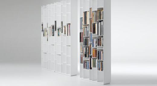 Bibliothque Design Blanche Avec Rangements Troits