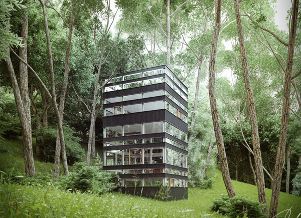 Maison Japonaise Moderne Dans La Fort