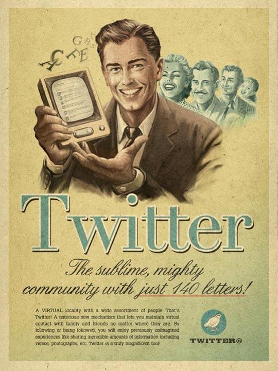 Affiche Twitter rtro vintage