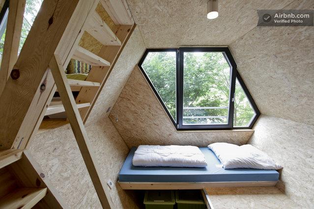 Intrieur contemporain pur dans une cabane dans les arbres