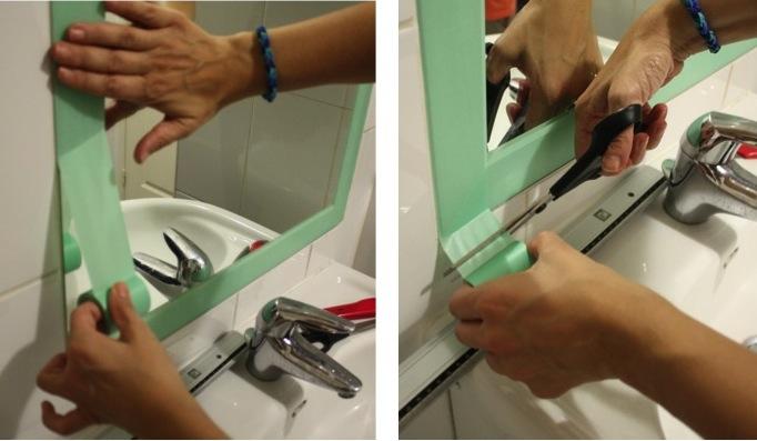 DIY-miroir-encadrement-masking-tape-déroule