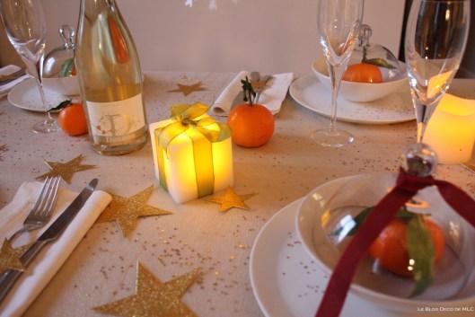 Noël-déco-champagne-et-bougies-led pour-une-fête-magique-dosnon-sur-table