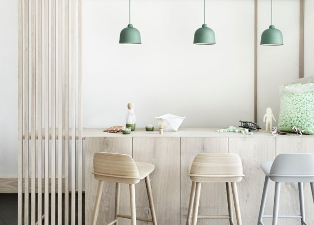 Muuto luminaire suspension bambou vert