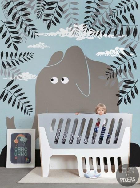 deco-chambre-bebe-papier-peint-enfant-elephant