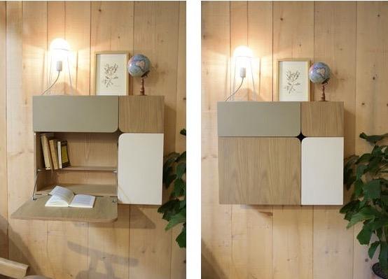bureau mural bois et beige