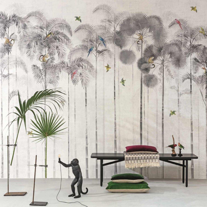 papier-peint-noir-et-blanc-paysage-tropical
