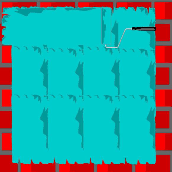 Une fois la peinture étalée verticalement, on passe une deuxième couche horizontalement (on croise les passes) - Pinceaux vs Rouleaux