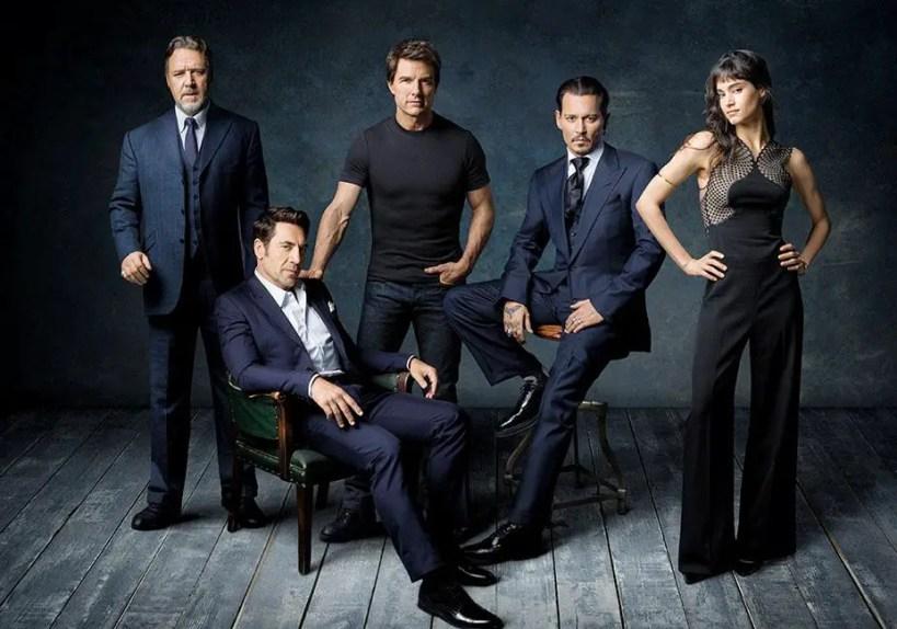"Les ""stars"" du Dark Universe : Tom Cruise & Sofia Boutella (La Momie), Javier Bardem (Dr Frankestein), Johnny Depp (L'Homme Invisible) et Russel Crowe (Dr Jekyll)"