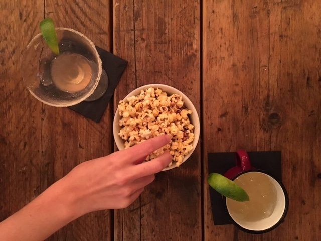 Cocktails and popcorn