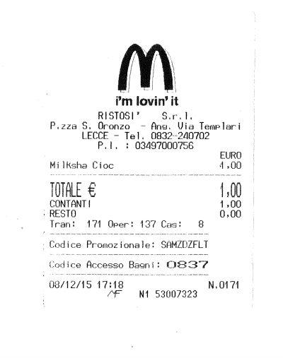 LecceSette  Lecce Prima lo scontrino poi la pip nel bagno del fast food si entra con il
