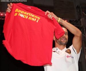 festa giallorossa Lecce Lepore maglietta