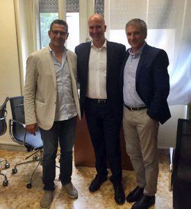 Mister Padalino nella sede dell'U.S. Lecce insieme a Liguori e Meluso