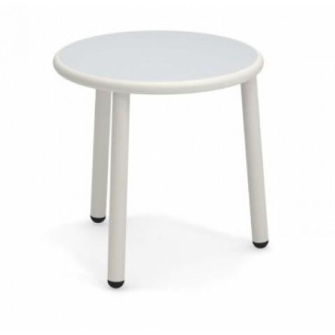 table basse en aluminium yard de emu o 50 cm blanc mat acier inox