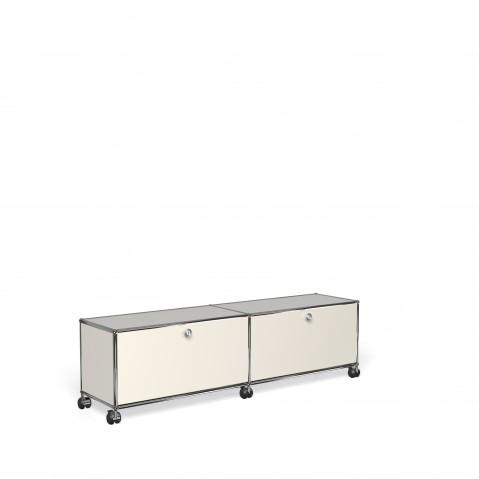meuble de rangement bas usm haller m23 avec roulettes blanc pur