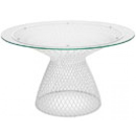 table ronde heaven de emu 120 cm blanc mat verre transparent