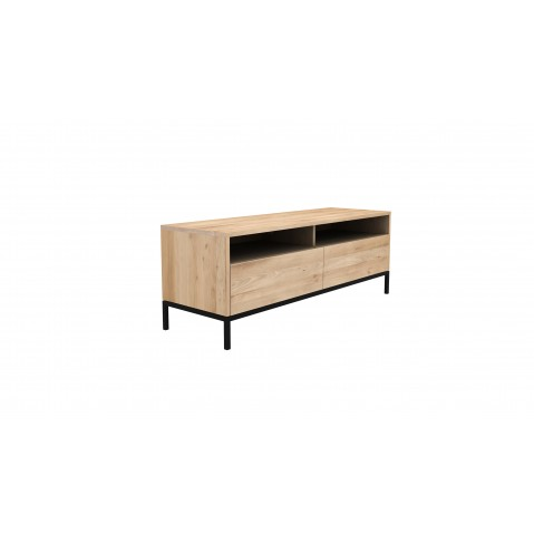 meuble tv ligna d ethnicraft pied metal noir 2 tiroirs chene