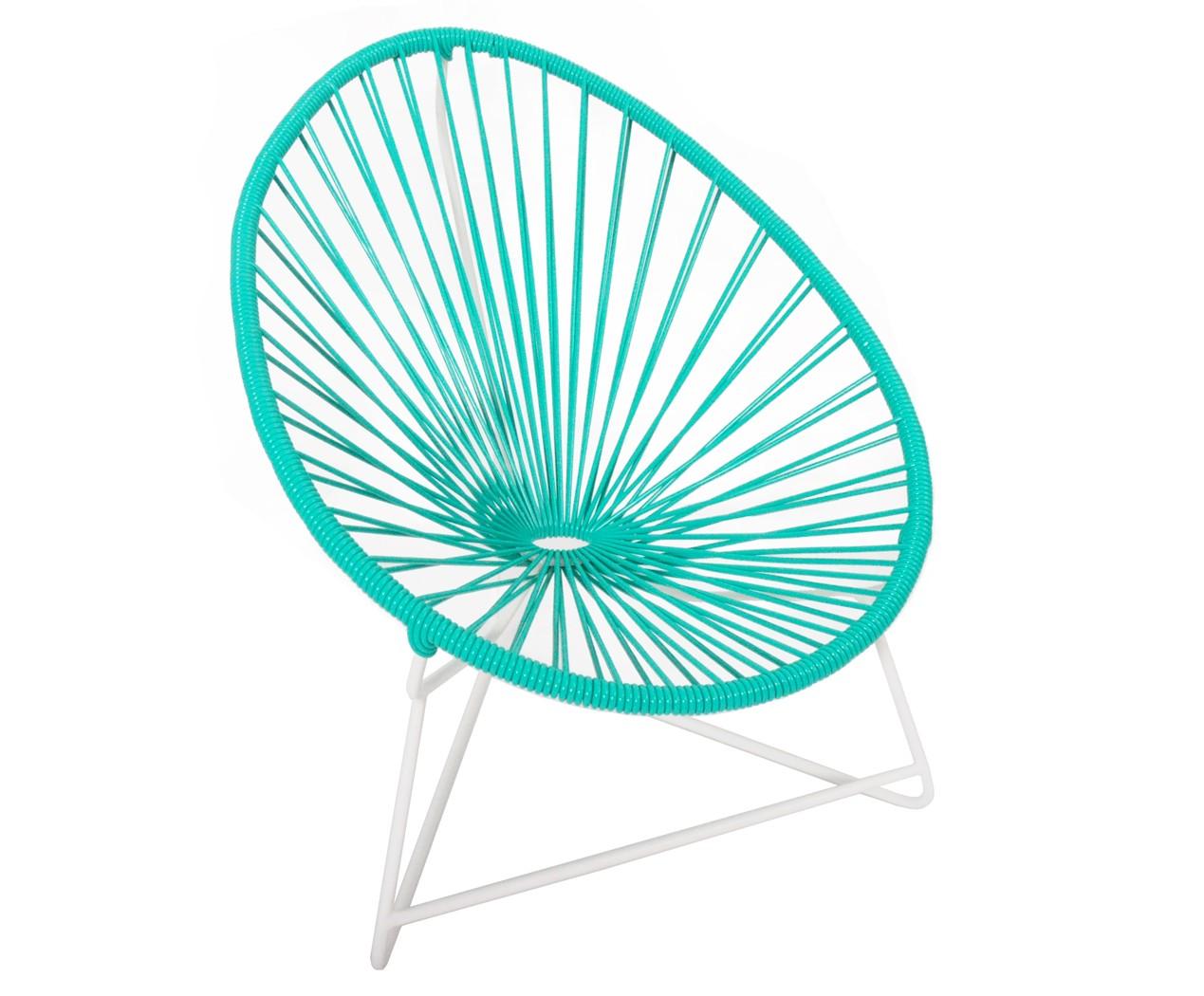 fauteuil acapulco enfant de boqa avec structure blanche vert turquoise