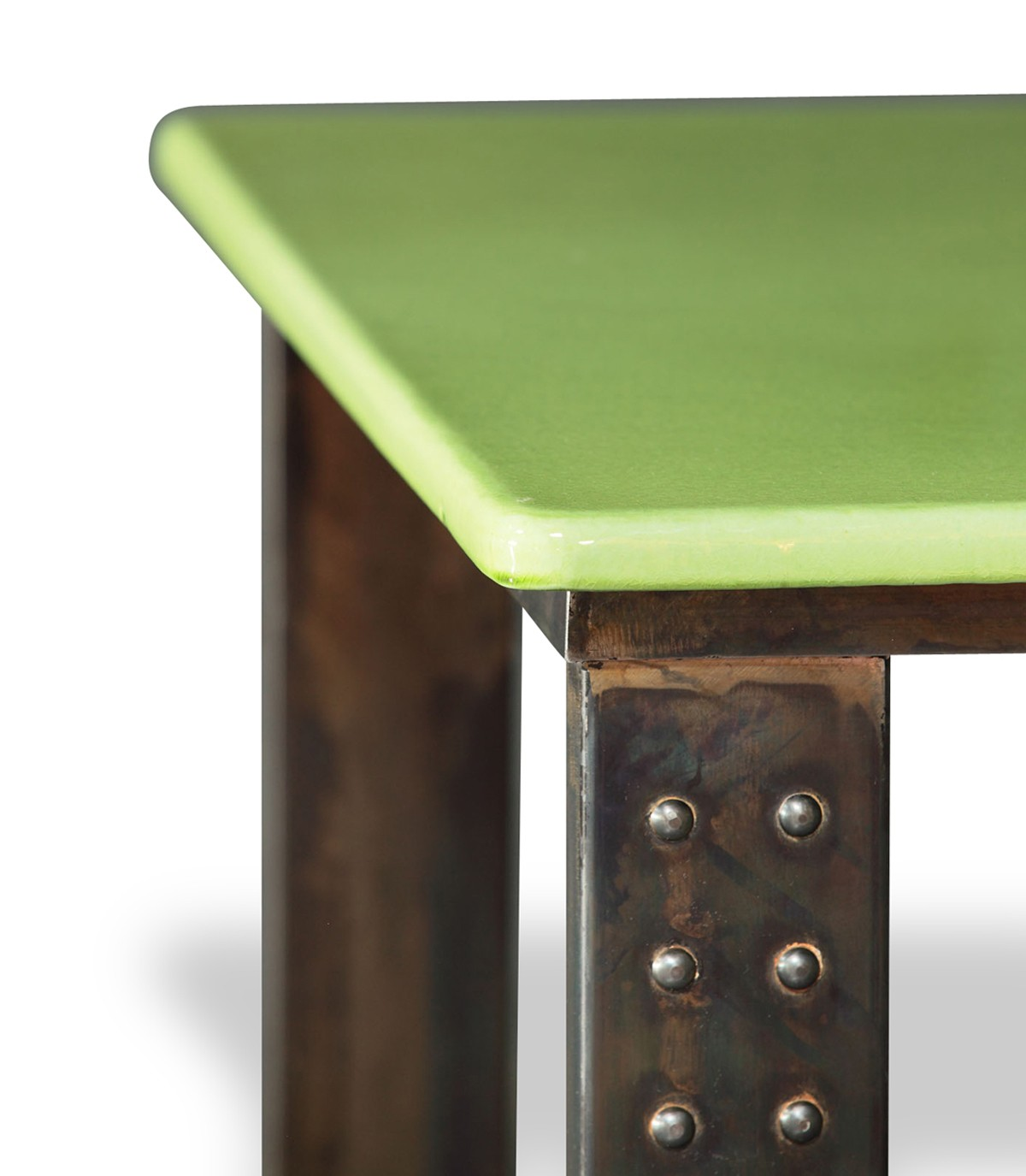 table en pierre de lave emaillee pied atelier l 200 vert pomme
