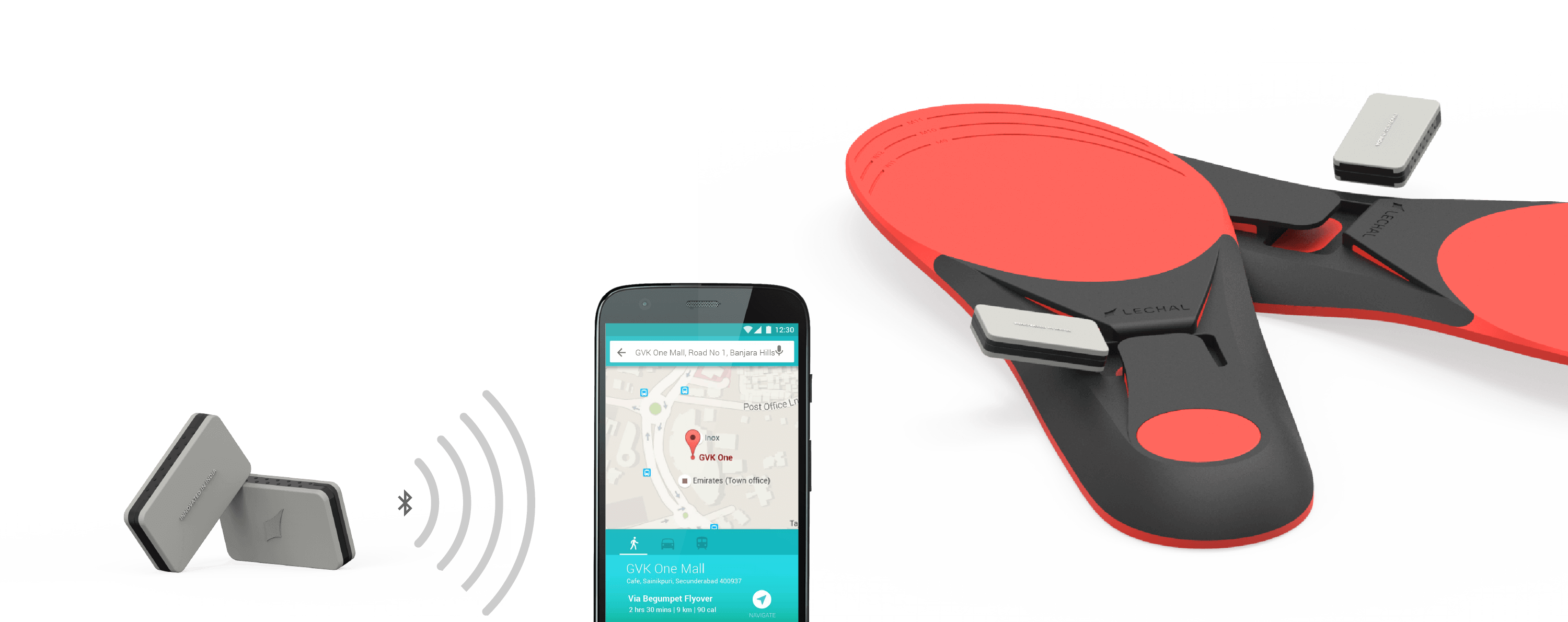 The Lechal pods connecting to the Lechal app via Bluetooth Smart.Lechal Mach Unisex Insoles with the Lechal pods being inserted into them