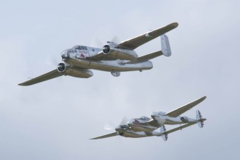 North American B-25J Mitchell N6123C & Lockheed P-38L Lightning N25Y - 01 Flying Legends 2015