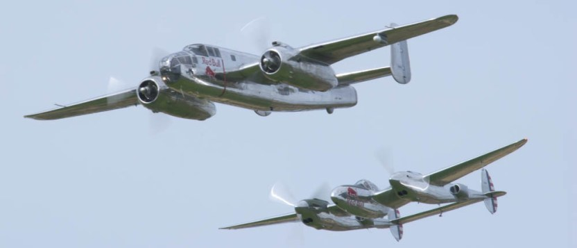 North American B-25J Mitchell N6123C & Lockheed P-38L Lightning N25Y - 02 Flying Legends 2015