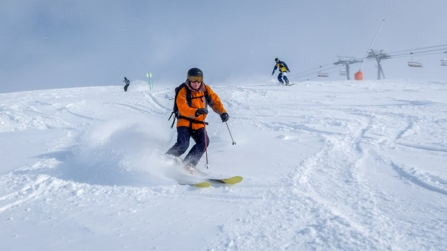 Skier and snowboarders in powder snow