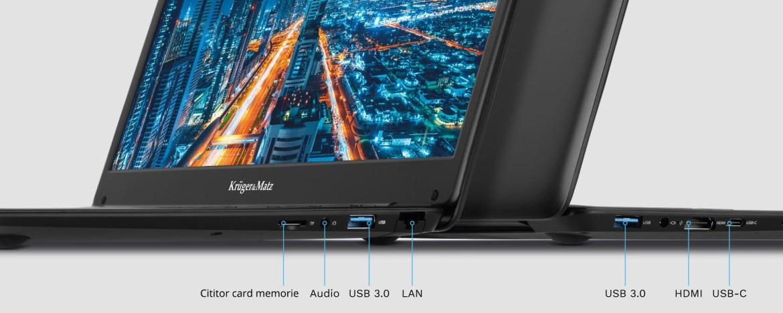 Laptop cu HDMI, USB, RJ-45 si micro SD