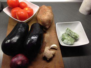 Zutaten Süßkartoffel Auberginen Spinat Curry
