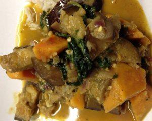 Süßkartoffel Auberginen Spinat Curry
