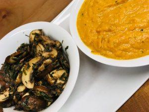 Knoblauch Pilze und Süßkartoffel Cashew Sauce