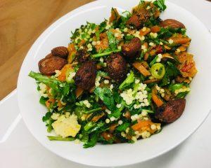 Karotten Hirse Salat mit Rosinen und Mandeln