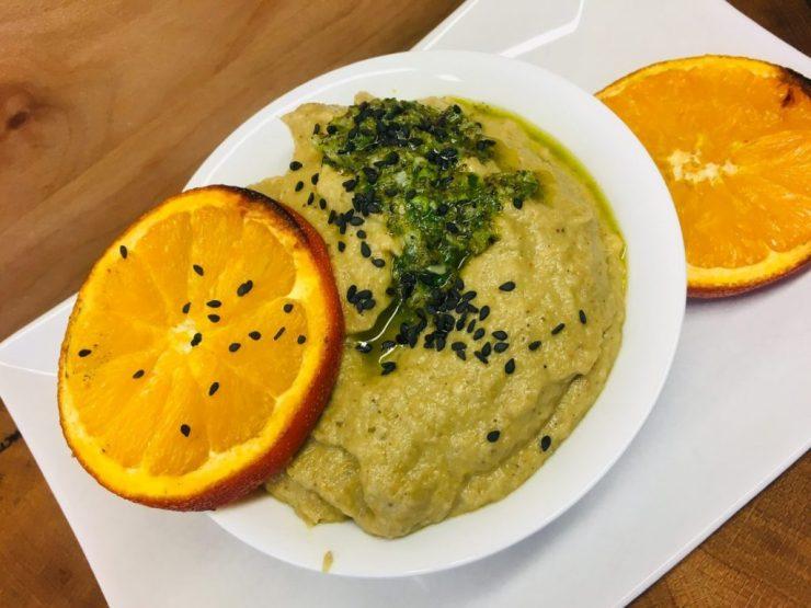 Japanischer Auberginen Miso Dip mit gerösteten Orangen und Ingwer