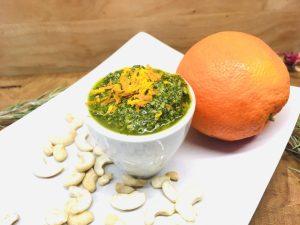 Pistazien Minze Pesto mit Orangen